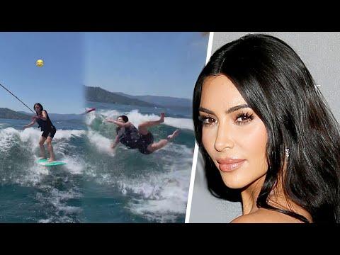 Watch Kim Kardashian WIPE OUT While Wakeboarding
