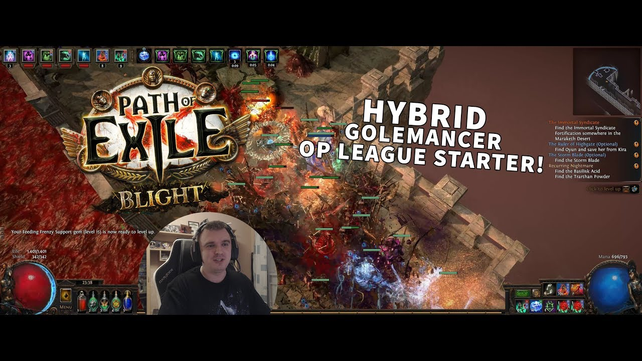 Path of Exile 3 8 BLIGHT League - My OP HYBRID Golemancer League Starter!
