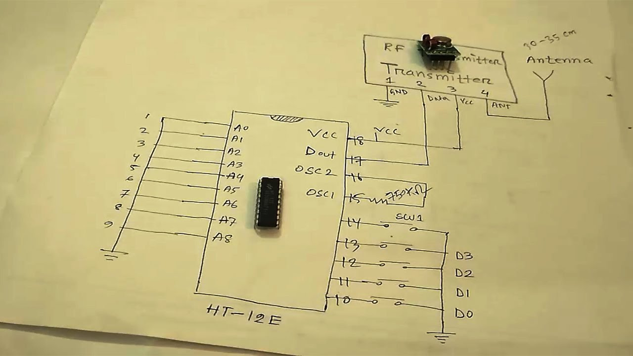 rf transmitter and receiver circuit | wireless remote control - youtube  youtube
