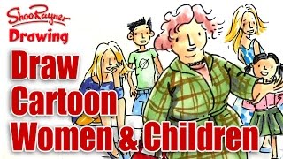 How to draw cartoon style Women, Children and Babies - Part 3