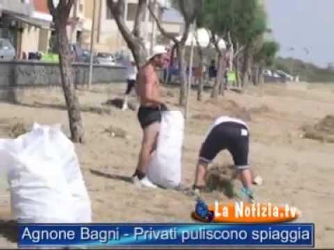 Agnone Bagni - Parte la pulizia della spiaggia - YouTube