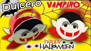 Dulcero para Halloween vampiro de goma eva. Manualidades Halloween.