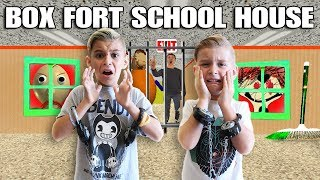 We Are Locked In Baldi's Box Fort School House Prison Escape Room!!