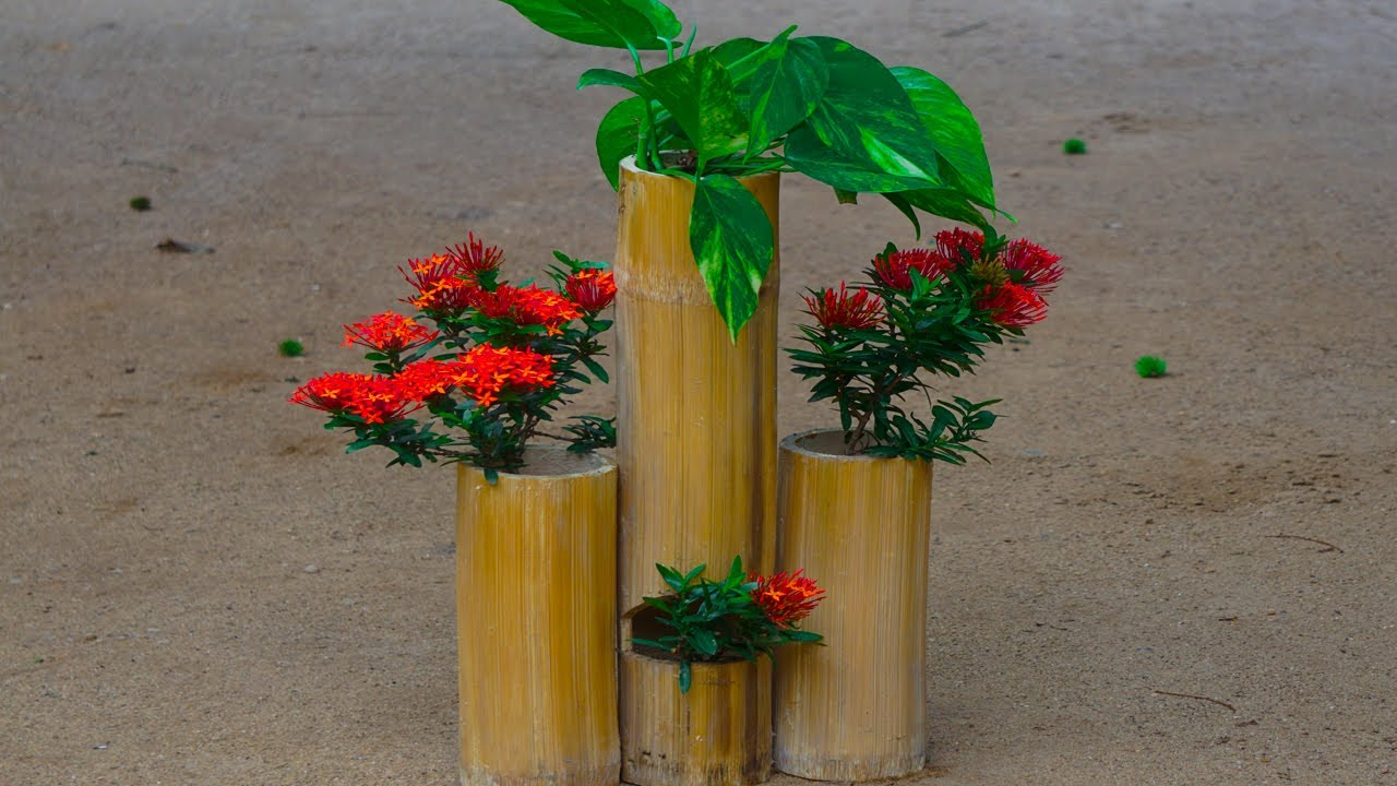 DIY IDEAS WITH BAMBOO FLOWERS POT