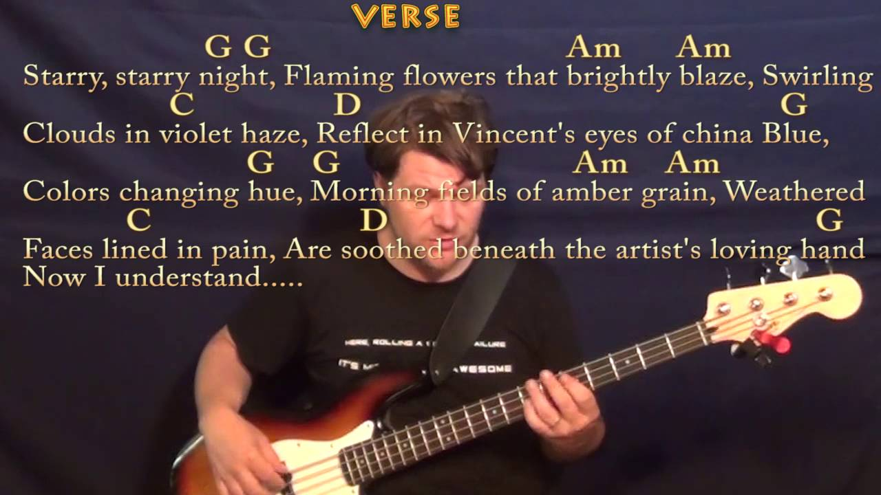 Vincent Starry Starry Night Don Mclean Bass Guitar Cover Lesson