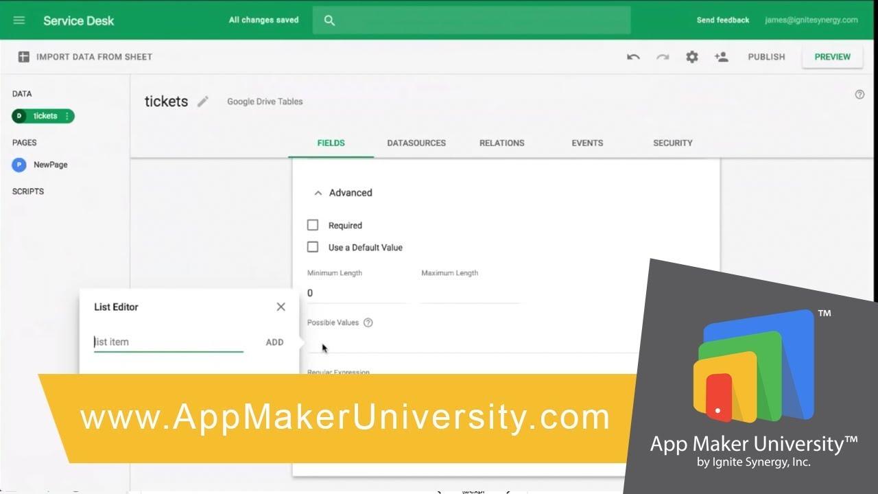 Service Desk App Step By Step Build In Google App Maker Idea
