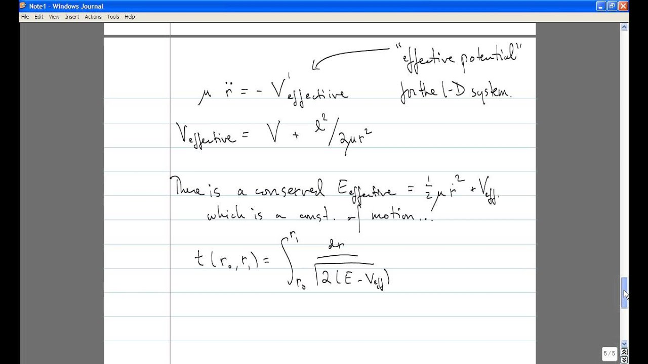 Classical Mechanics, Lecture 8: Solution of the Two Body Problem