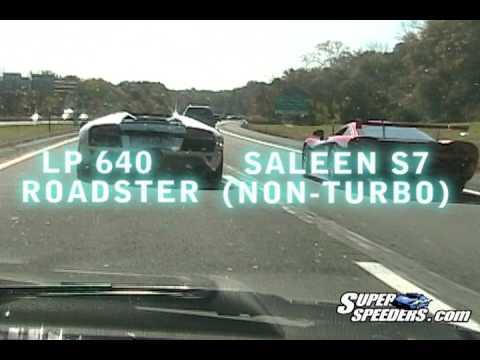 Single turbo Supra behind Saleen S7 vs Lp640