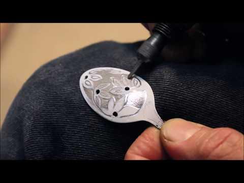 - Spring- Stainless teaspoon pendant.