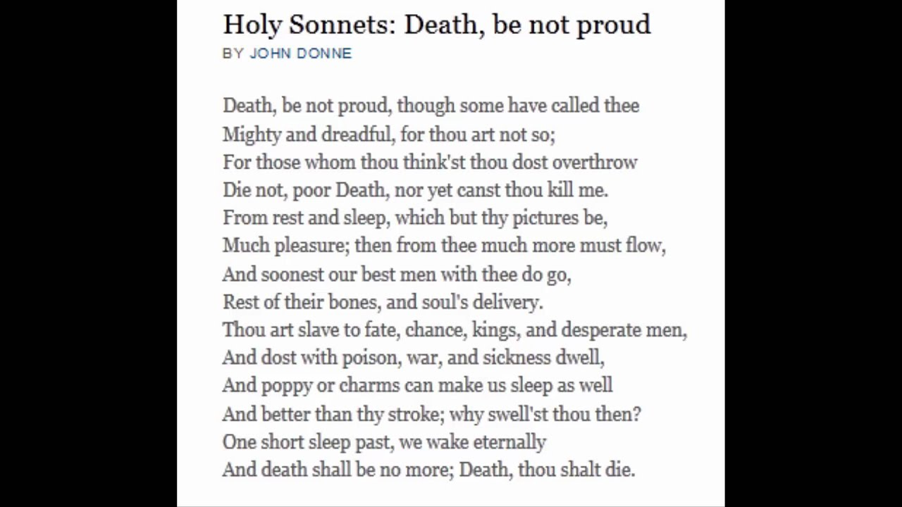 a literary analysis of death in holy sonnet 10 by john donne This preoccupation with death is manifested in the realm of literature john donne is of death in john donne and done in holy sonnet and death is the.