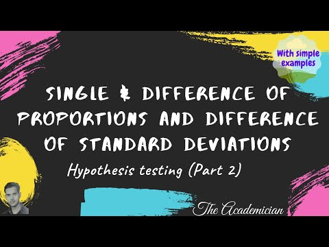 Hypothesis testing: Single proportion, difference of proportions, difference of standard deviations