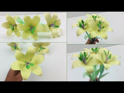Easy DIY How to Make Lily Paper Flower for Beginners Making   Simple Paper Flowers Step by Step