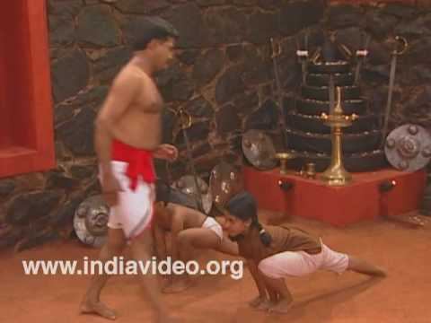 Youngsters learning the steps of Kalaripayattu