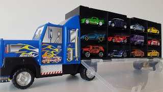 Cars for Kids review Cars arrangement in the Car Transporter Hot Wheels Car Video