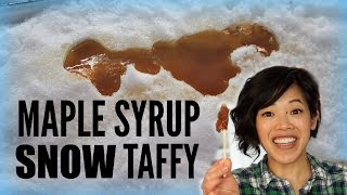 Maple Syrup SNOW Taffy Candy | making candy in the snow