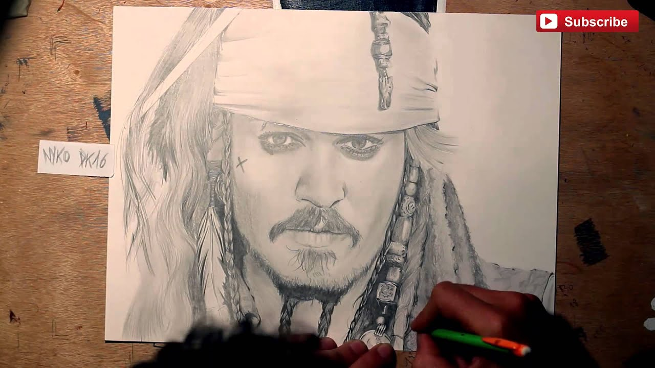 Draw Face Of Johnny Depp - Jack Sparrow Drawing