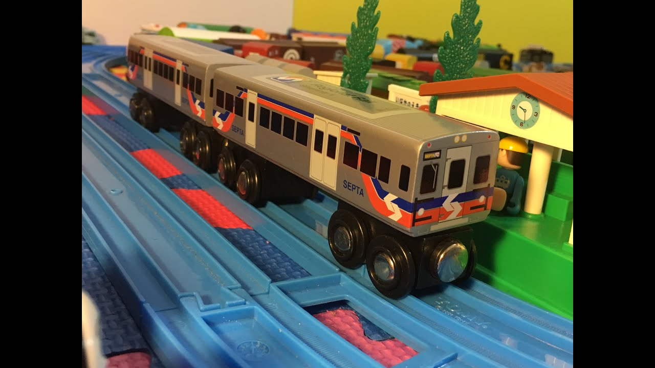 SEPTA Silverliner V Wooden Toy Train in motion (000011 ...