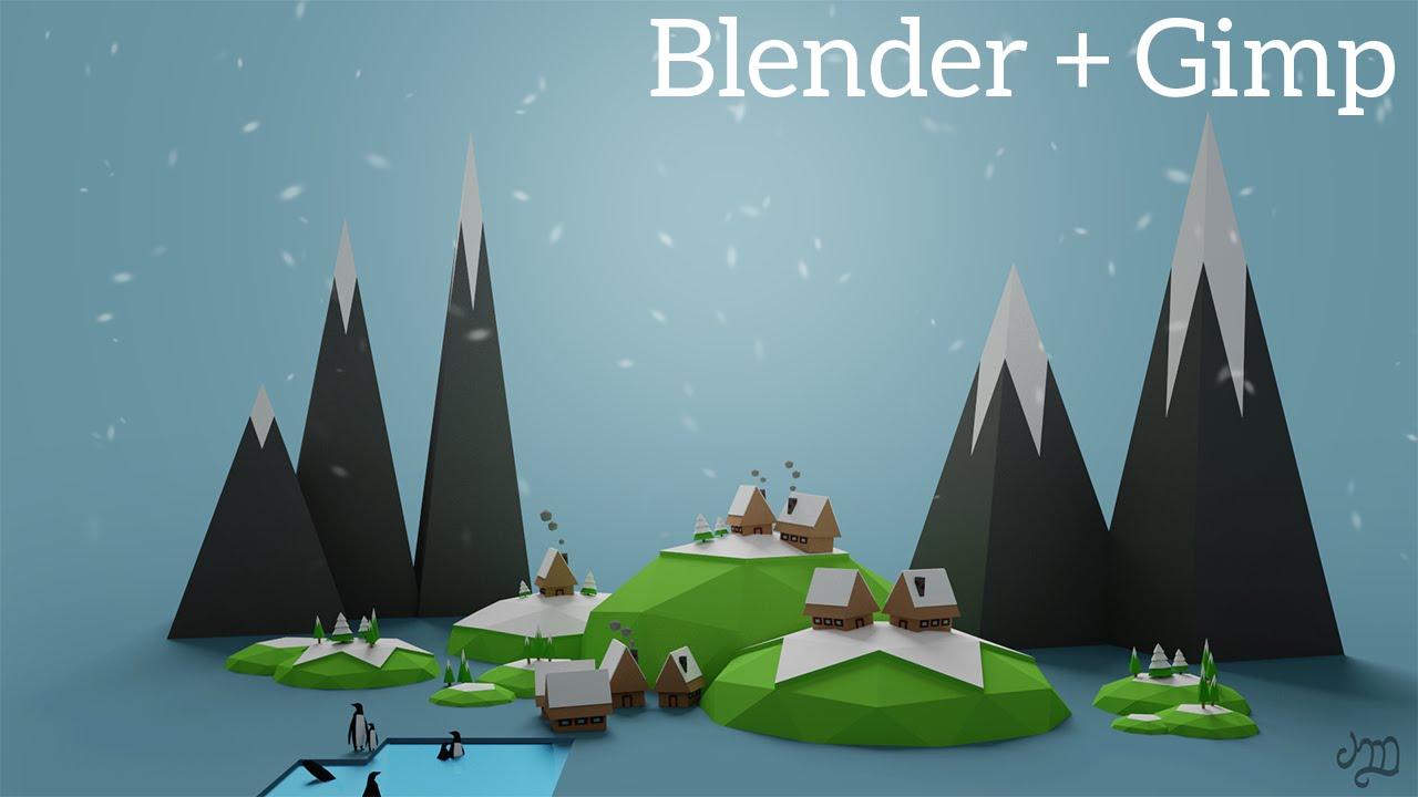 Blender and gimp tutorial low poly icy world youtube baditri Choice Image