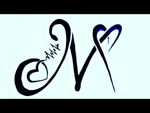 M Alphabet Tattoo Design With Heart How To Draw M Word Shape Tattoo With Heart Unknown Artist