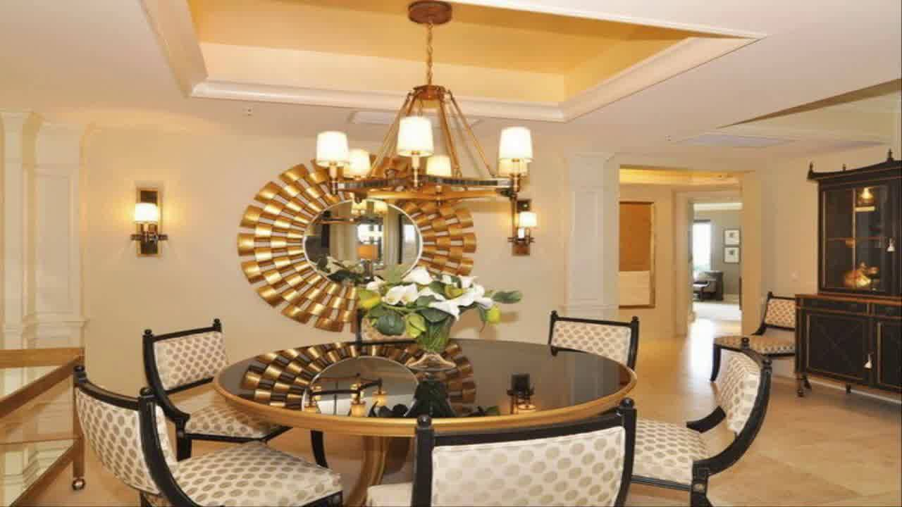 Dining room wall decor ideas with mirror youtube for Metal art for dining room