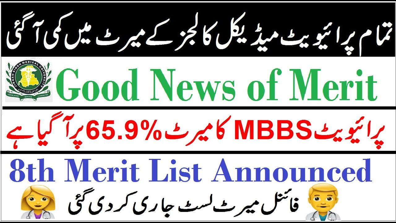 MBBS Merit came at 65 9% !! Final Merit List Announced for Private Medical  Colleges