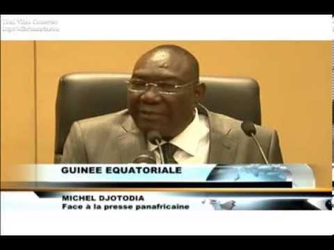 Michel Djotodia face à la presse en Guinée équatoriale