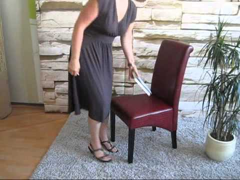 Chaise de salle manger galice cuir youtube for Chaise salle a manger annee 50