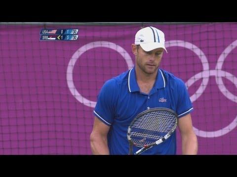 Roddick (USA) v Djokovic (SRB) Men's Tennis 2nd Round Replay - London 2012 Olympics