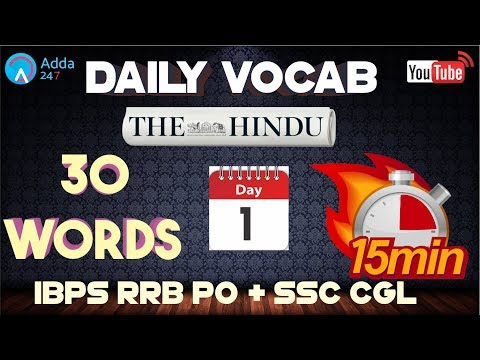 Vocabulary Words | The Hindu | English for SSC CGL 2017