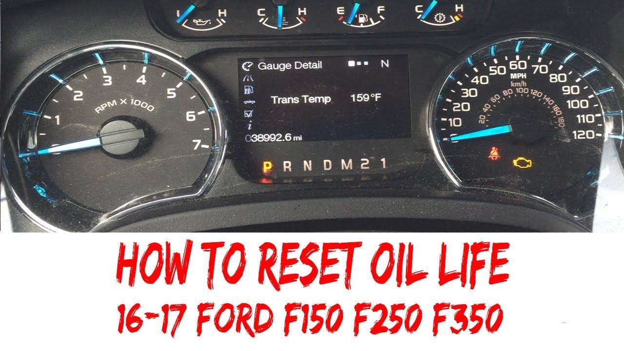2016 Ford F250 >> Reset Oil Life 2016-2017 Ford F150 F250 F350 Pickup Oil ...