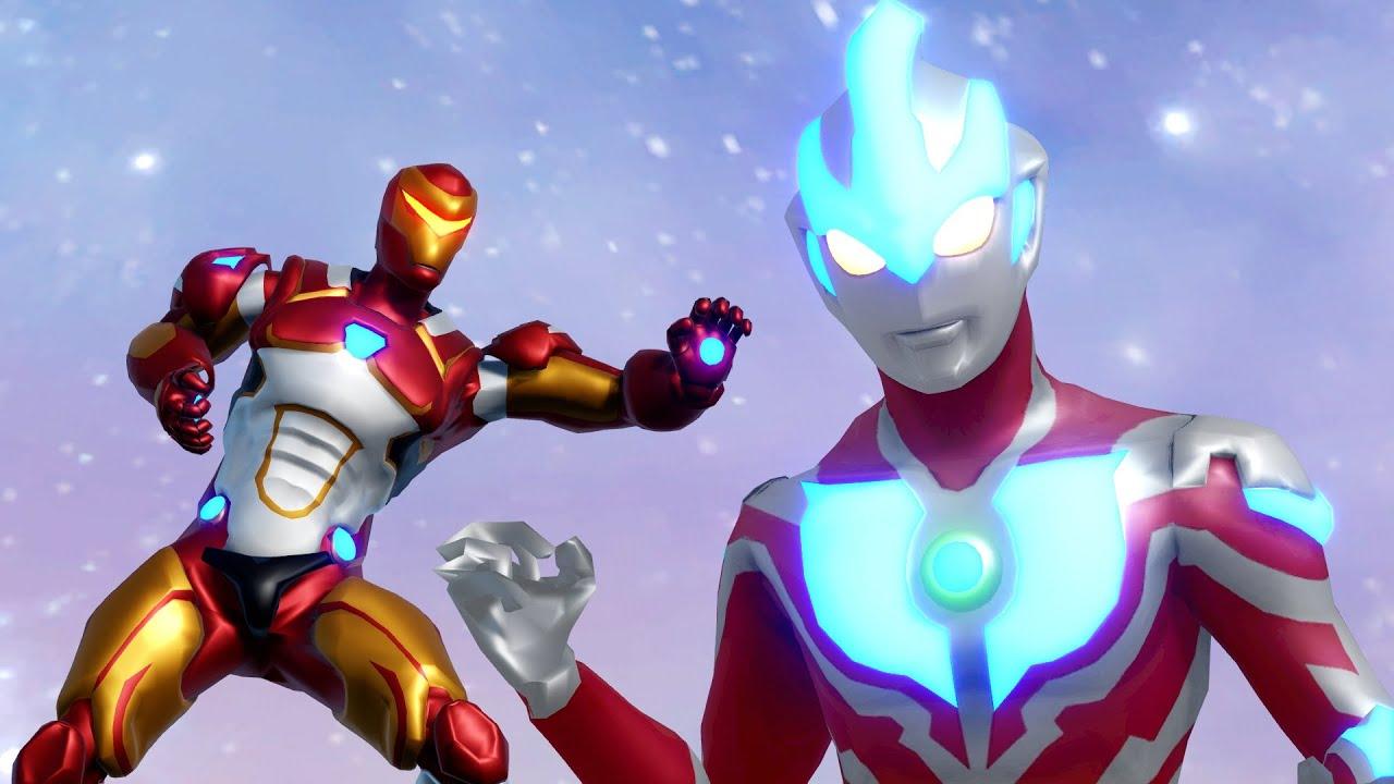 Ultraman Ginga Vs Iron Man And Iron Jet