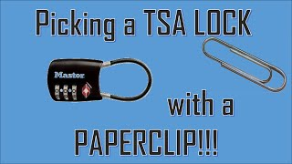 Repeat youtube video Picking a TSA LOCK with a PAPERCLIP!!! Worst security EVAR!