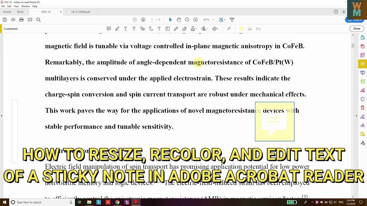 HOW TO RESIZE, RECOLOR, AND EDIT TEXT OF A STICKY NOTE IN ADOBE ACROBAT  READER