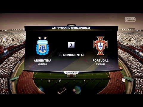 ARGENTINA X PORTUGAL ( 4 K - ULTRA HD ) EL MONUMENTAL - FIFA 18 !