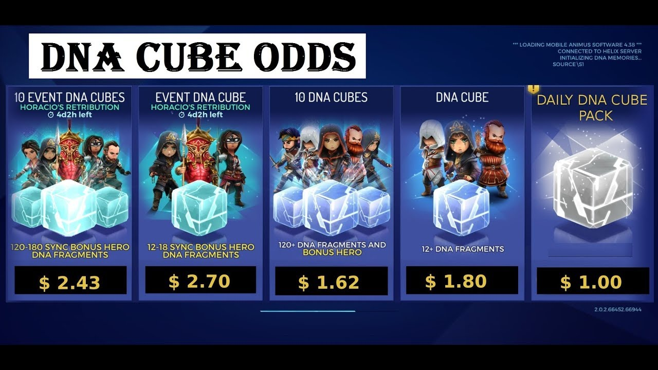 Assassin's Creed Rebellion DNA cube Odds How to get free DNA cubes AC  Rebellion Tips and Hints