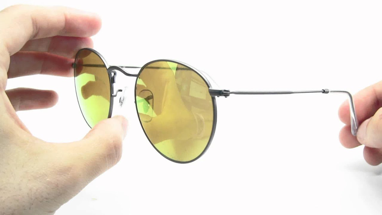 Ray-Ban RB 3447 Round Metal 029 93 Mirrored Sunglasses - YouTube 8f3dd24a7e