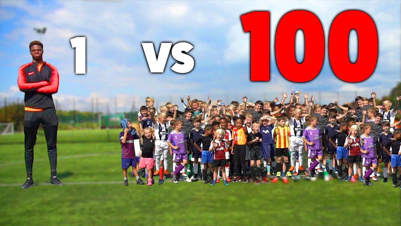 100 KIDS vs 1 PRO Footballer in SOCCER MATCH!! (99% HUMILIATING)