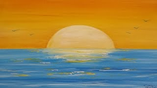 How To Painting A Sunset Seascape In Acrylic (Narrated Time Lapse)
