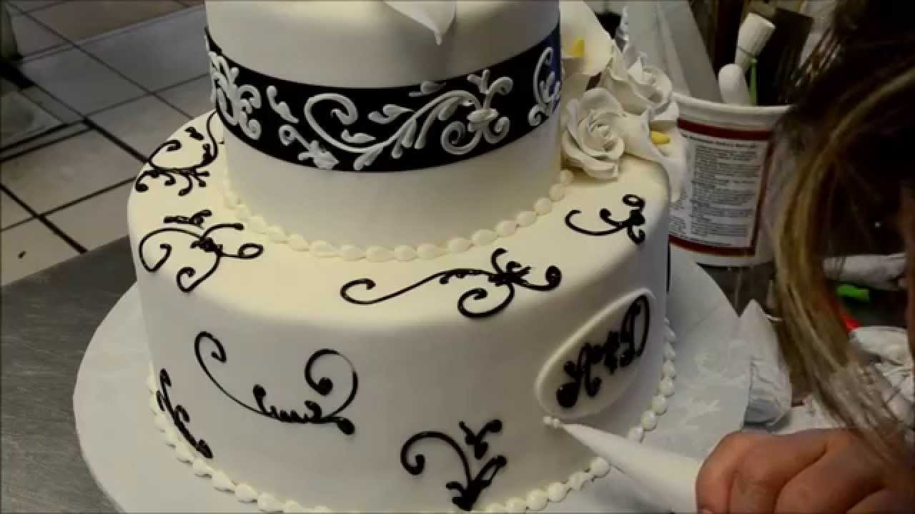 Cake Decorating Ideas For Wedding Simple : How to decorate a simple but Elegant wedding cake - YouTube