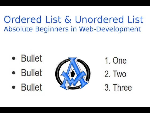 Ordered Lists and Unordered List Absolute Beginner Web Development -