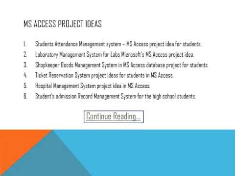 MS Access projects ideas for final year engineering students codin - using access for project management