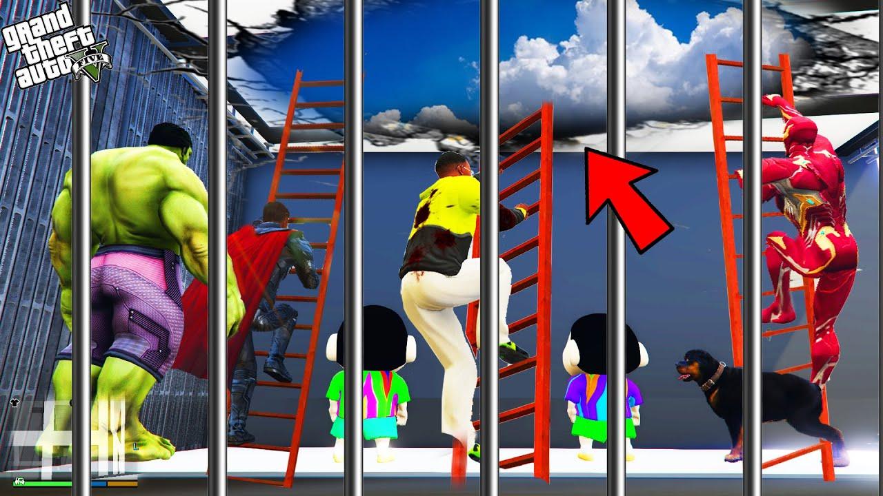 GTA 5 : Shinchan , Pinchan And Franklin Escaped Prison in GTA 5 ! (GTA 5 mods)