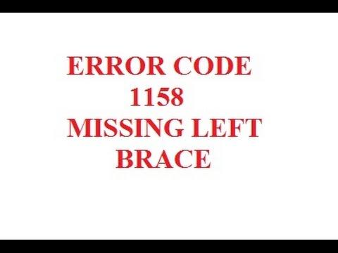 Flash Error Code 1158 Missing Left Brace