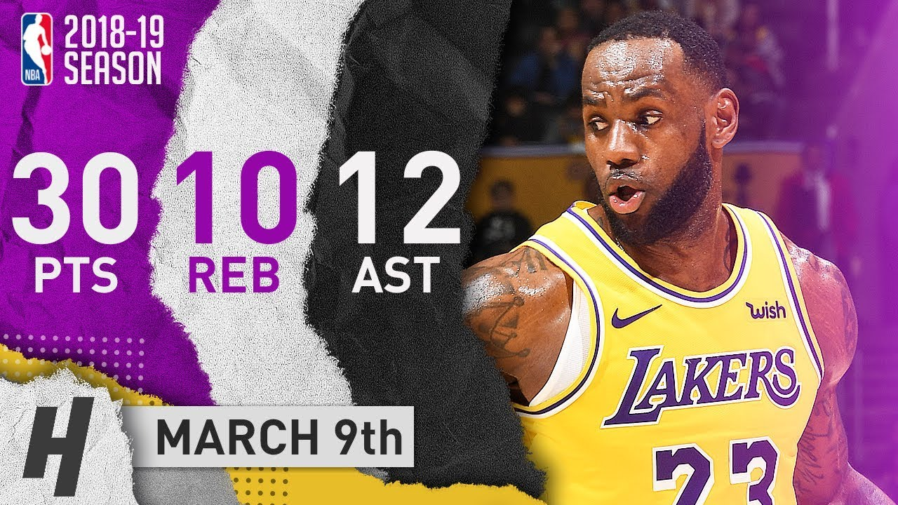 the latest ec0ae e591a LeBron James Triple-Double Highlights Lakers vs Celtics 2019.03.09 - 30  Pts, 12 Ast, 10 Reb