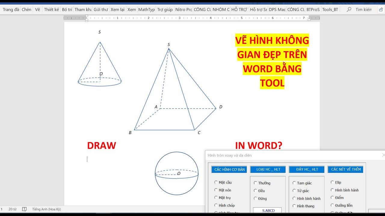 Bài 05| Vẽ hình chóp hình lăng trụ trong word như thế nào bằng tool rất chất