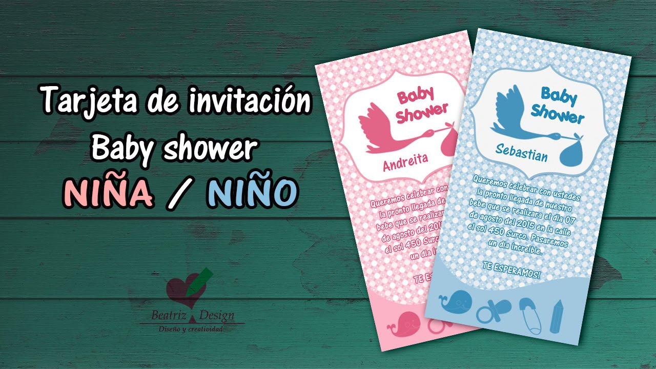 Tarjeta De Invitacion Baby Shower En Photoshop Cc
