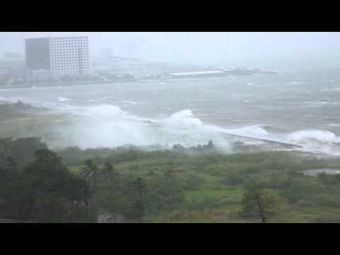 Typhoon Pedring hitting Manila coast