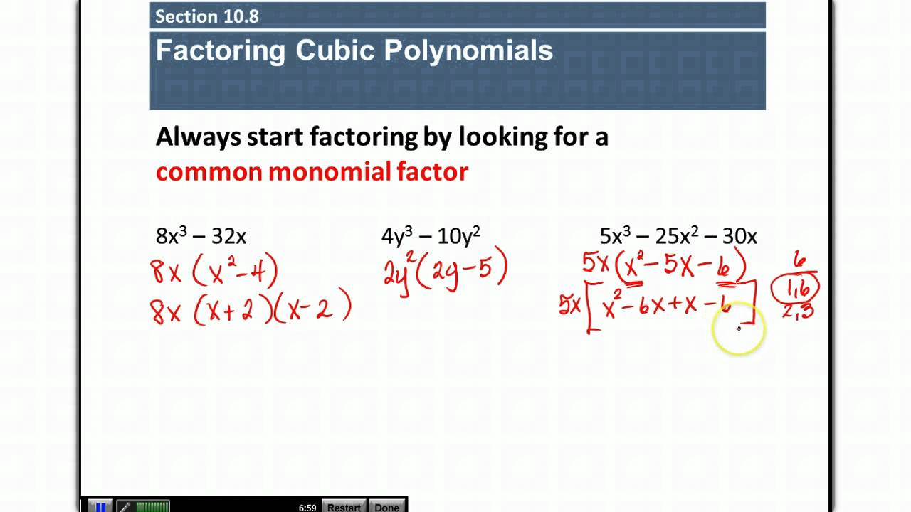 section 10 8 factoring cubic polynomials