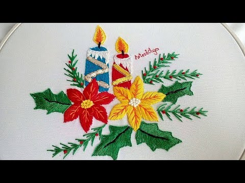 Hand Embroidery: Candles and poinsettia flowers  Bordado a mano: Velas y flores de Nochebuena