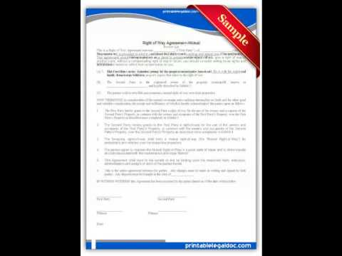Free Printable Right Of Way Agreement Mutual Forms Youtube